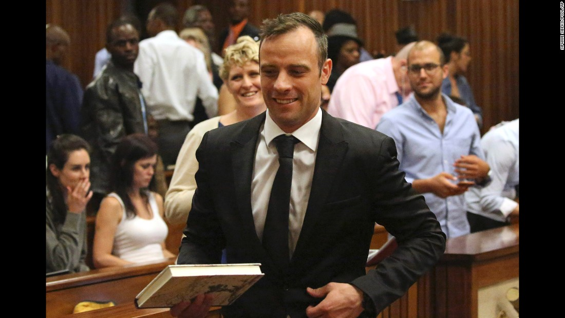 "Oscar Pistorius leaves a courtroom in Pretoria, South Africa, after he was <a href=""http://www.cnn.com/2015/12/08/africa/oscar-pistorius-bail-hearing/"" target=""_blank"">granted bail </a>on Tuesday, December 8. The double-amputee sprinter was found guilty of murdering his girlfriend, Reeva Steenkamp, after South Africa's Supreme Court of Appeal <a href=""http://www.cnn.com/2015/12/03/africa/oscar-pistorius-conviction-overturn-decision-south-africa/"" target=""_blank"">overturned the previous conviction of culpable homicide.</a> His lawyers said they will appeal that decision to the Constitutional Court."
