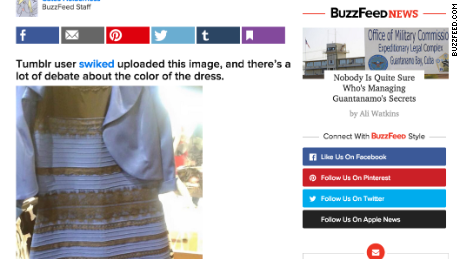 A screengrab of the BuzzFeed post with a photo of the dress.