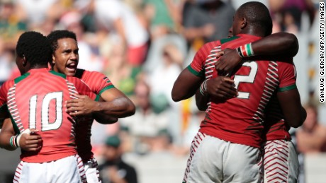 Kenya's rugby players celebrate a famous victory against South Africa at the World Sevens Series tournament in Cape Town.