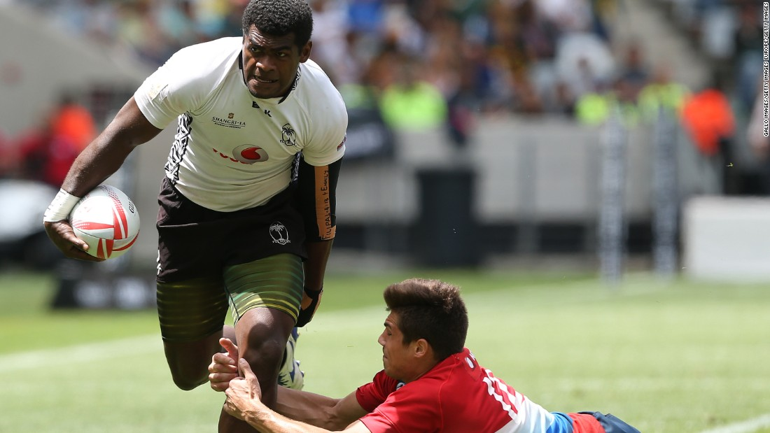 Viliame Mata of Fiji bursts clear during a first day match against Russia.