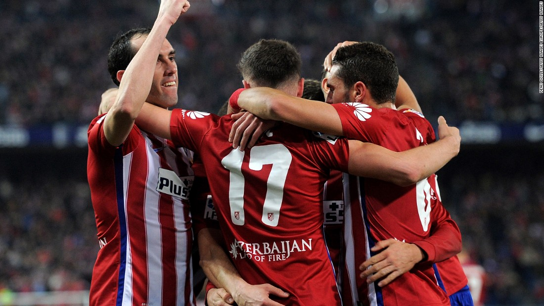 Atletico Madrid drew level on points with Barcelona at the top of La Liga after beating Athletic Bilbao 2-1 with the opening goal from  Saul Niguez.