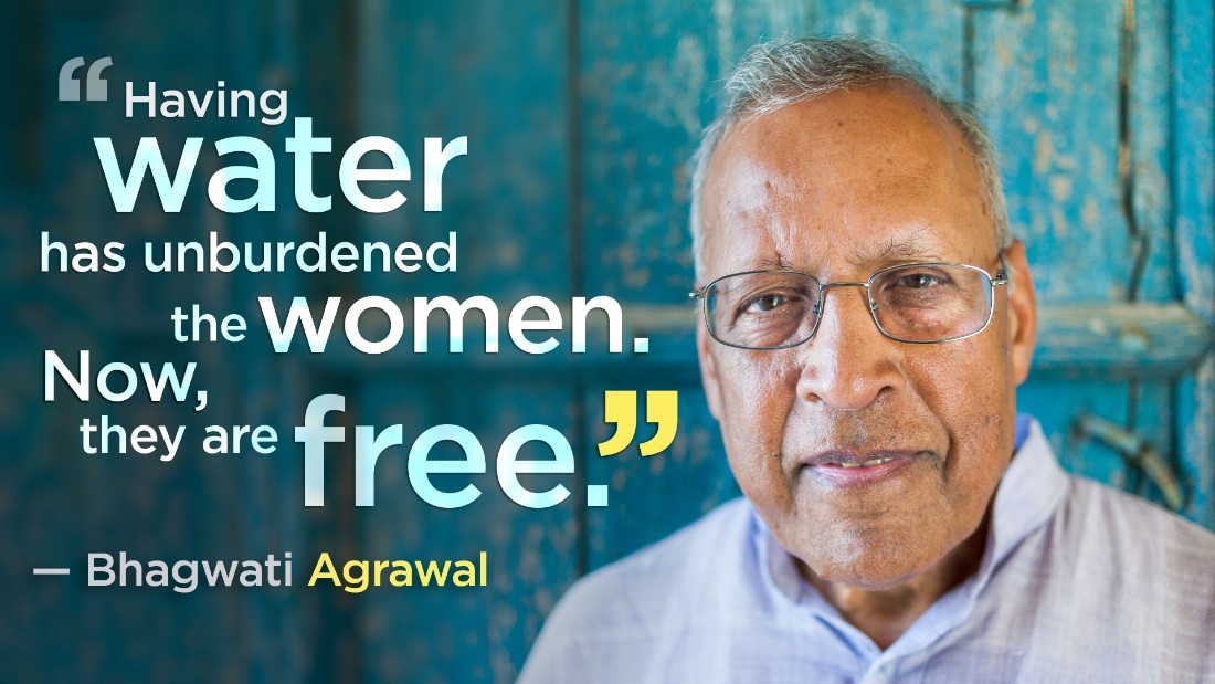 Bhagwati Agrawal and his nonprofit created a rainwater harvesting system that now provides clean, safe drinking water to six villages -- 10,000 people -- all year long.