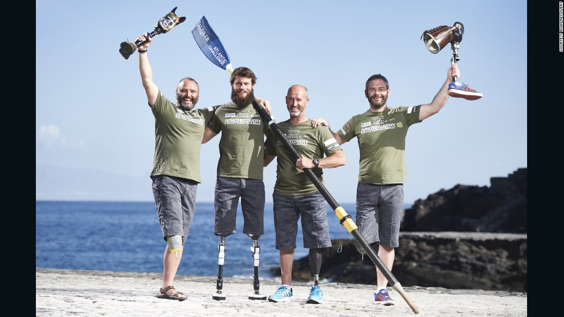 Left to right: Lee Spencer, 46, Cayle Royce, 29, Nigel Rogoff, 56, and Paddy Gallagher, 30, all lost a limb -- or two -- while serving in the British army.