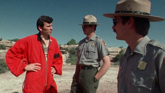 Boenish had his run-ins with authorities: He and fellow jumpers carefully planned their escape after each jump -- sometimes quickly changing clothes to appear as hikers. Here, Boenish negotiates with park rangers at California's Yosemite National Park after a 3,000-foot plunge off El Capitan's vertical rock face.