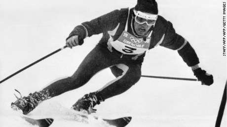 CHAMROUSSE, FRANCE - FEBRUARY 12:  Frenchman Jean-Claude Killy clears a gate during the second run of the men's giant slalom, 12 February 1968 in Chamrousse, near Grenoble (French Alps), during the Winter Olympic Games. Killy won the gold medal.  (Photo credit should read STAFF/AFP/Getty Images)