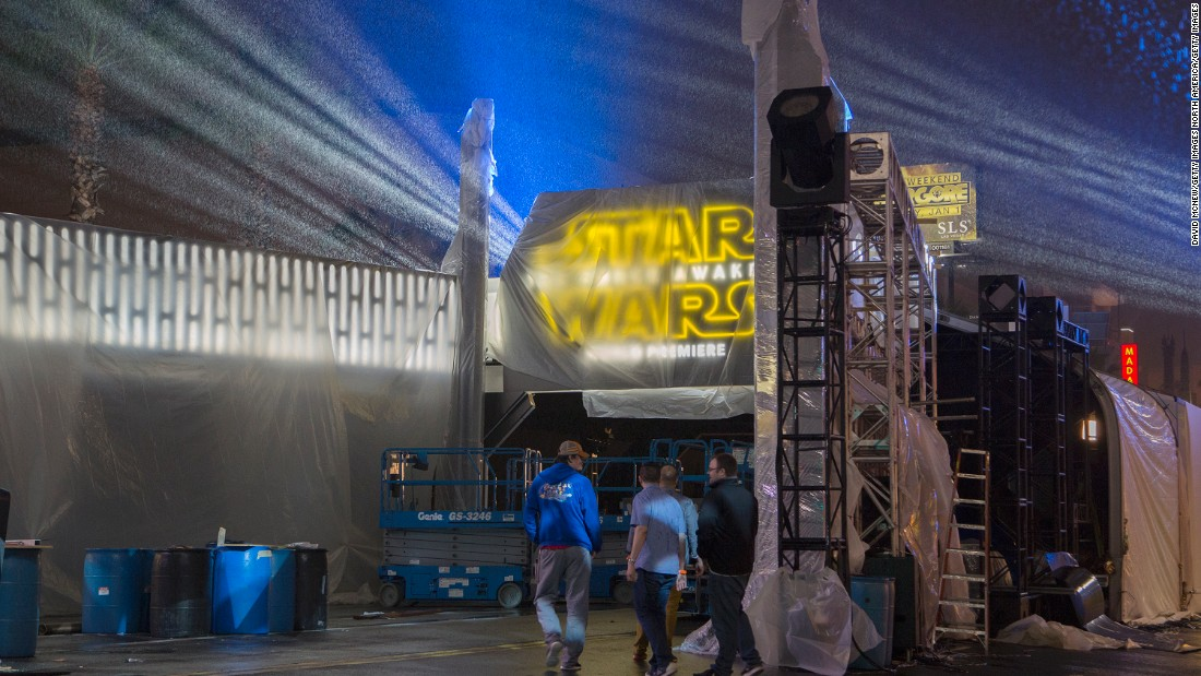 "Work in the area began a full two days before the event. The red carpet portion of the premiere will be live streamed at S<a href=""http://www.starwars.com/news/watch-the-star-wars-the-force-awakens-red-carpet-live-at-starwars-com"" target=""_blank"">tarWars.com</a>."
