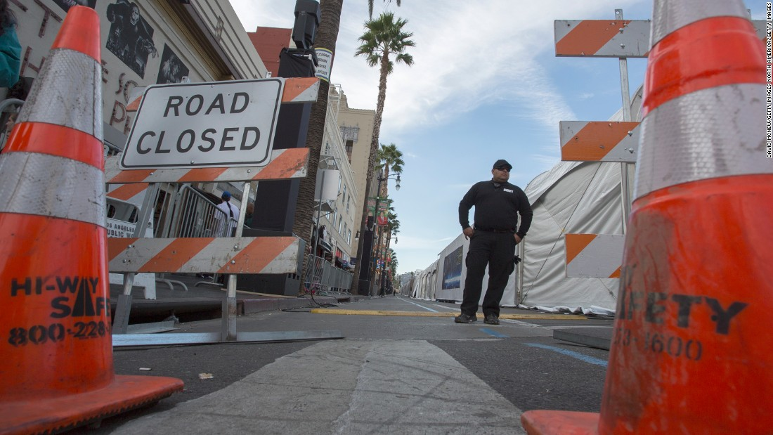 With several streets blocked to traffic, the Los Angeles Police Department has assigned extra officers on foot and vehicles to patrol the area.
