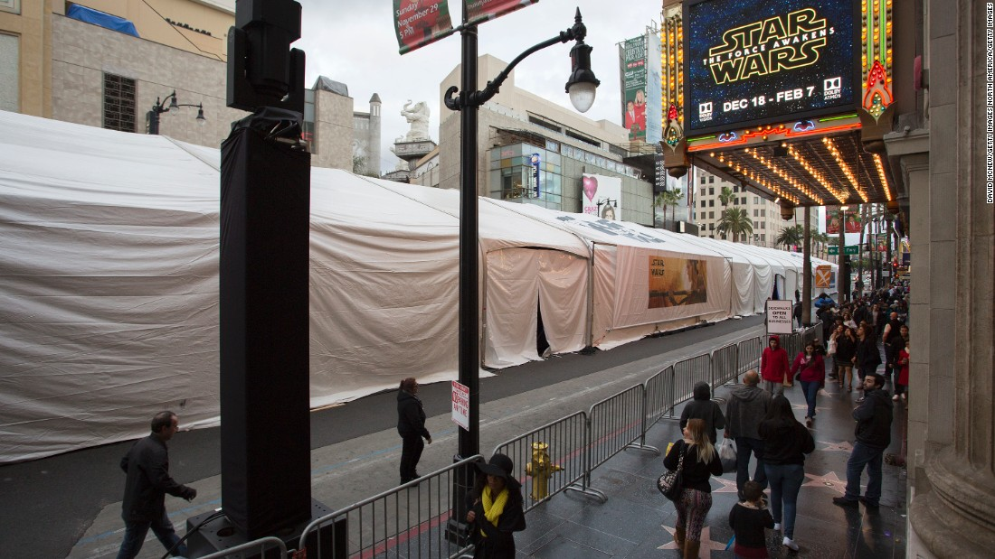 "A half-mile long section of Hollywood Boulevard, in Los Angeles, is getting ready for the world premiere event of ""Star Wars: The Force Awakens,"" which will start at 5:30 PT on December 14th. Blocks-long tenting has been set up and the area has been closed to traffic."