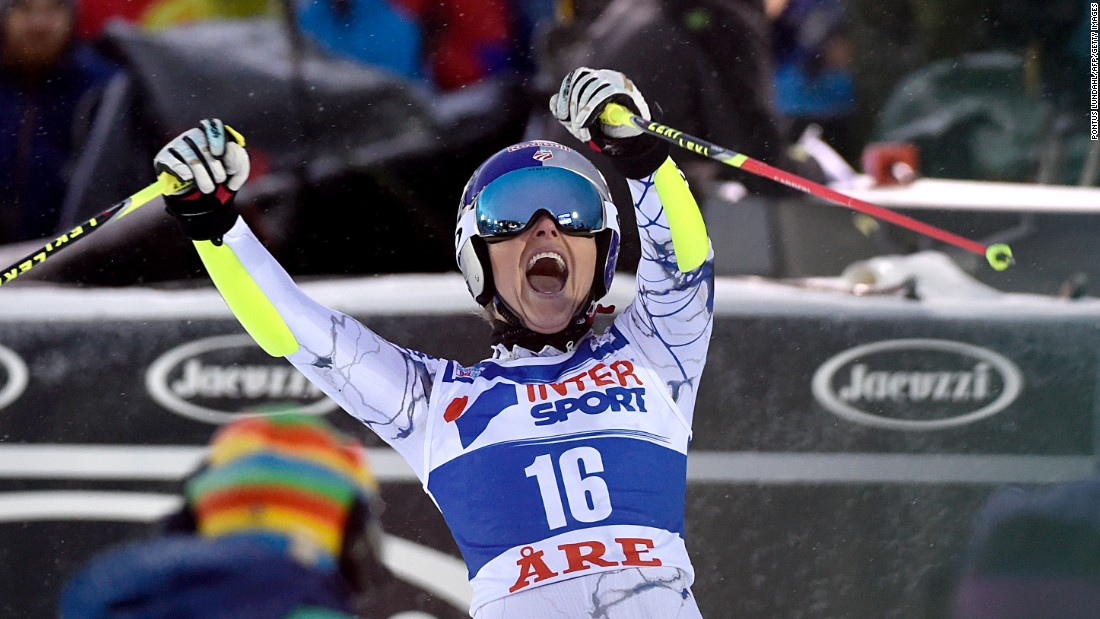 "American skier Lindsey Vonn celebrates Saturday, December 12, <a href=""http://www.cnn.com/2015/12/12/sport/skiing-vonn-shiffrin-hirscher/"" target=""_blank"">after winning the giant slalom</a> during the World Cup event in Are, Sweden. It was the fourth straight World Cup victory for Vonn, who won three races the week before."