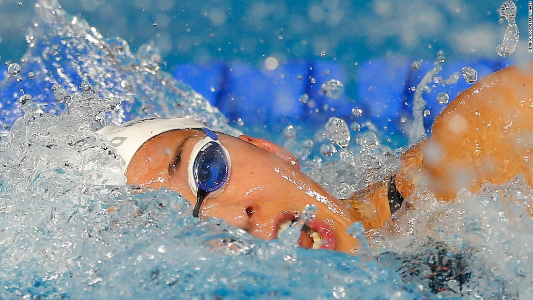 Dutch swimmer Ranomi Kromowidjojo competes in the 100-meter freestyle Friday, December 11, during the Duel in the Pool event in Indianapolis.