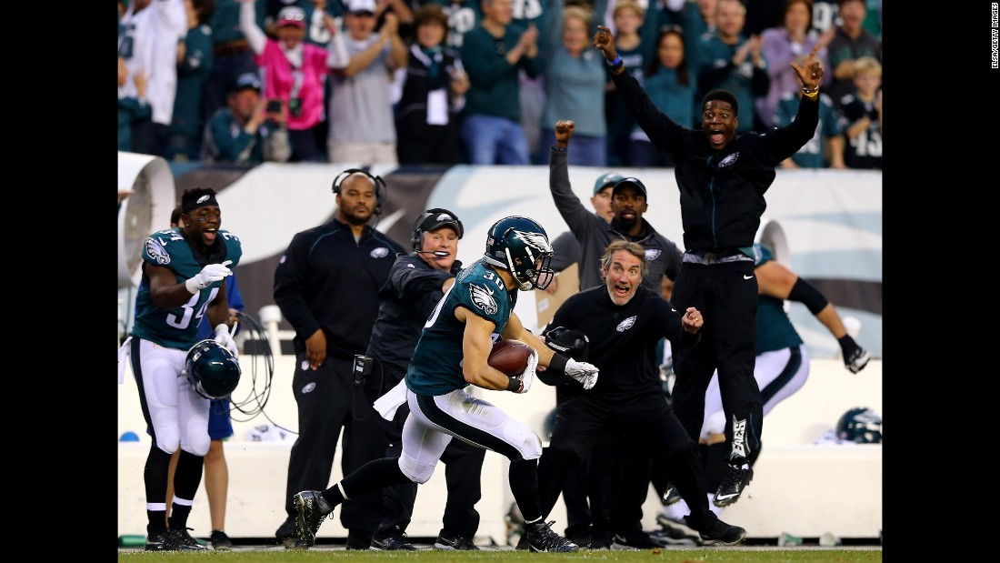 Philadelphia's sideline rejoices after Ed Reynolds intercepted a pass to secure the Eagles' 23-20 victory over Buffalo on Sunday, December 13.