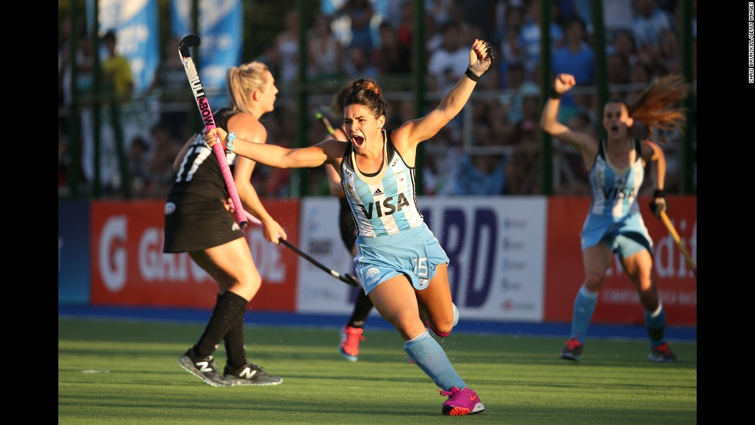 Maria Granatto celebrates Sunday, December 13, after she scored the first goal for Argentina in its 5-1 victory over New Zealand in the Hockey World League final. It was the first World League title for Argentina, who hosted this year's tournament.