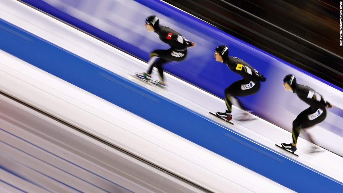 From left, Japanese speedskaters Shota Nakamura, Shane Williamson and Ryosuke Tsuchiya compete in a team pursuit race at a World Cup event in Heerenveen, Netherlands, on Friday, December 11.