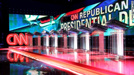 CNN prepares the stage for the Republican Debate at the Venetian Hotel in Las Vegas.
