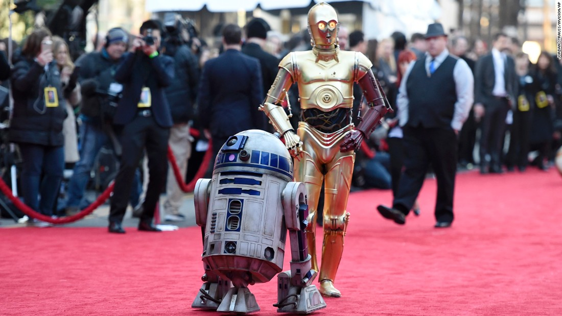 "No ""Star Wars"" premiere would be complete without famous droids R2-D2, left, and C-3PO, who both appear in the new film."