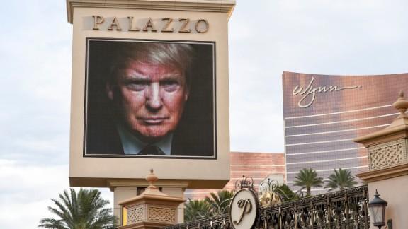 An image of Trump is seen on the Las Vegas Strip on December 14. Las Vegas was hosting a CNN presidential debate.