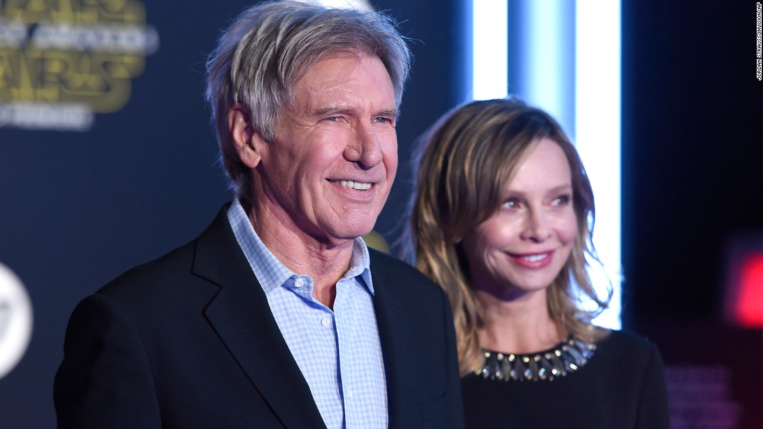 "Harrison Ford and wife Calista Flockhart. Ford returns in the new movie as now-grizzled rebel pilot Han Solo. When asked by a young colleague in the movie's trailer about his character's legendary exploits, Solo says, ""It's true. All of it."""