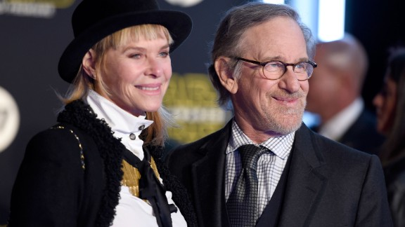 "Filmmaker Steven Spielberg and wife Kate Capshaw at the premiere. A longtime close friend of George Lucas, Spielberg was once rumored to be in the running to direct ""The Force Awakens."""