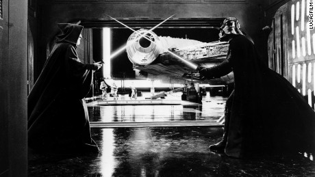 The Millennium Falcon in the Death Star docking bay, filmed at Leavesden studios.
