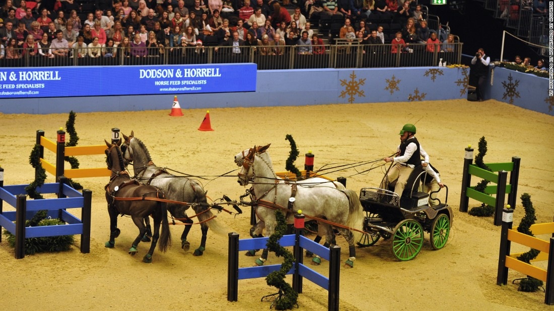 Riders have to guide their horses around a specially-designed course in the fastest time possible.