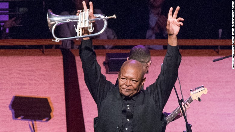 Masekela performs in a concert in New York in April 2014.