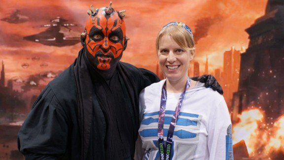 Emily Manor-Chapman with a Darth Maul cosplayer at Star Wars Celebration.