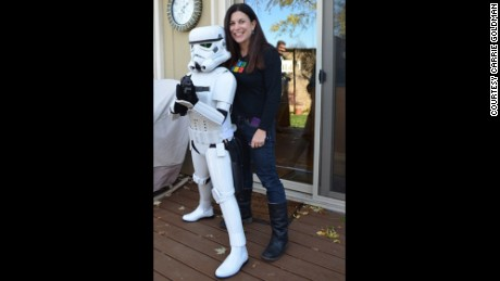 Katie Goldman in her Stormtrooper armor with her mom, Carrie.