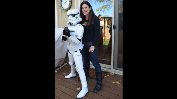 Katie Goldman in her Stormtrooper armor with her mom, Carrie.