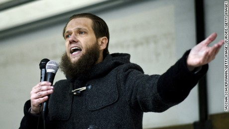 Salafist preacher Sven Lau speaks to supporters at a gathering in Wuppertal, Germany, in March.