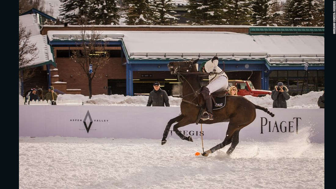 This version of polo is played on a snow-packed field surrounded by fencing to keep the ball in play.