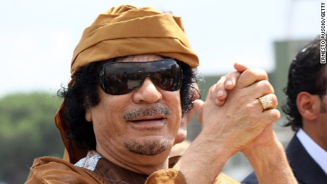 Libyan leader Moammar Gadhafi arrives at Ciampino airport on August 29, 2010, in Rome, Italy.