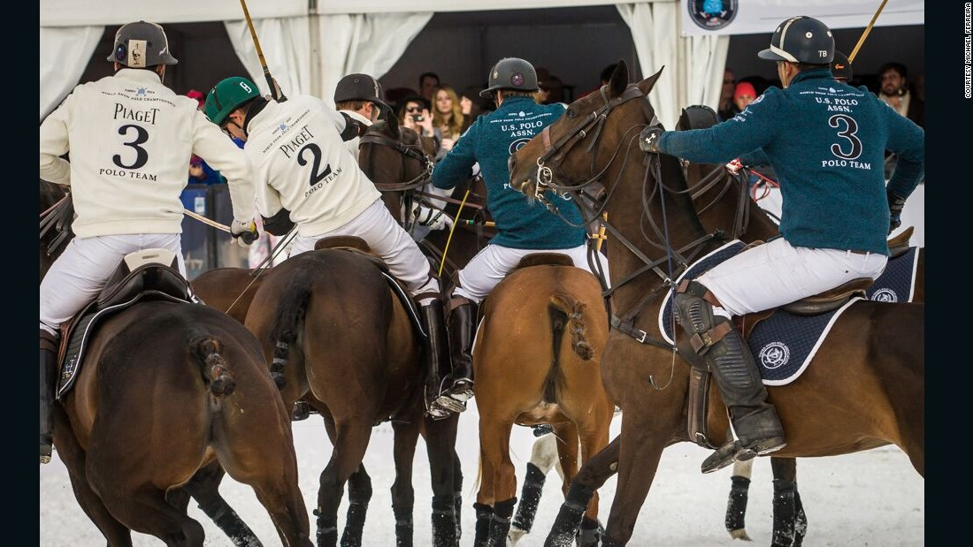 Like arena polo -- a fast-paced version played on all-weather pitches -- teams in the snow variant have three players, one more than the traditional field format.