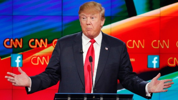 """Trump answers a question at the debate. During the event, the GOP front-runner said it was """"very unprofessional"""" and """"very sad"""" that so many questions directed at other candidates were about him."""