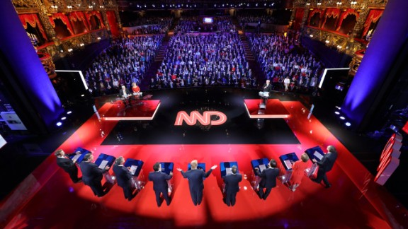 An overhead view of the stage at the Venetian hotel and casino.
