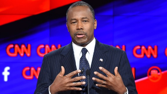 """Candidate Ben Carson speaks during the debate. """"As a pediatric neurosurgeon, I frequently faced life-and-death situations and had to come up with the right diagnosis, the right plan, and execute that plan frequently with other colleagues,"""" Carson said. """"Right now, the United States of America is the patient. And the patient is in critical condition and will not be cured by political correctness and will not be cured by timidity."""""""