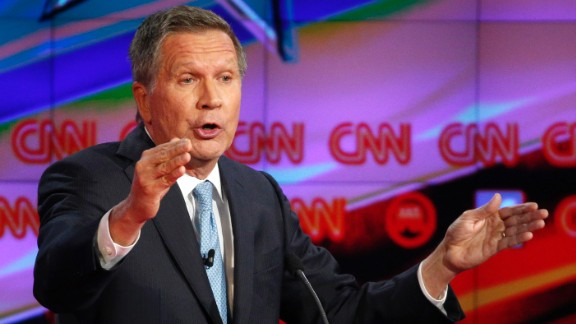"""Ohio Gov. John Kasich speaks during the debate. """"When we think about our country and the big issues that we face in this country -- creating jobs, making sure people can keep their jobs, the need for rising wages, whether our children when they graduate from college can find a job, protecting the homeland, destroying ISIS, rebuilding defense -- these are all the things that we need to focus on,"""" Kasich said. """"But we'll never get there if we're divided. We'll never get there if Republicans and Democrats just fight with one another."""""""