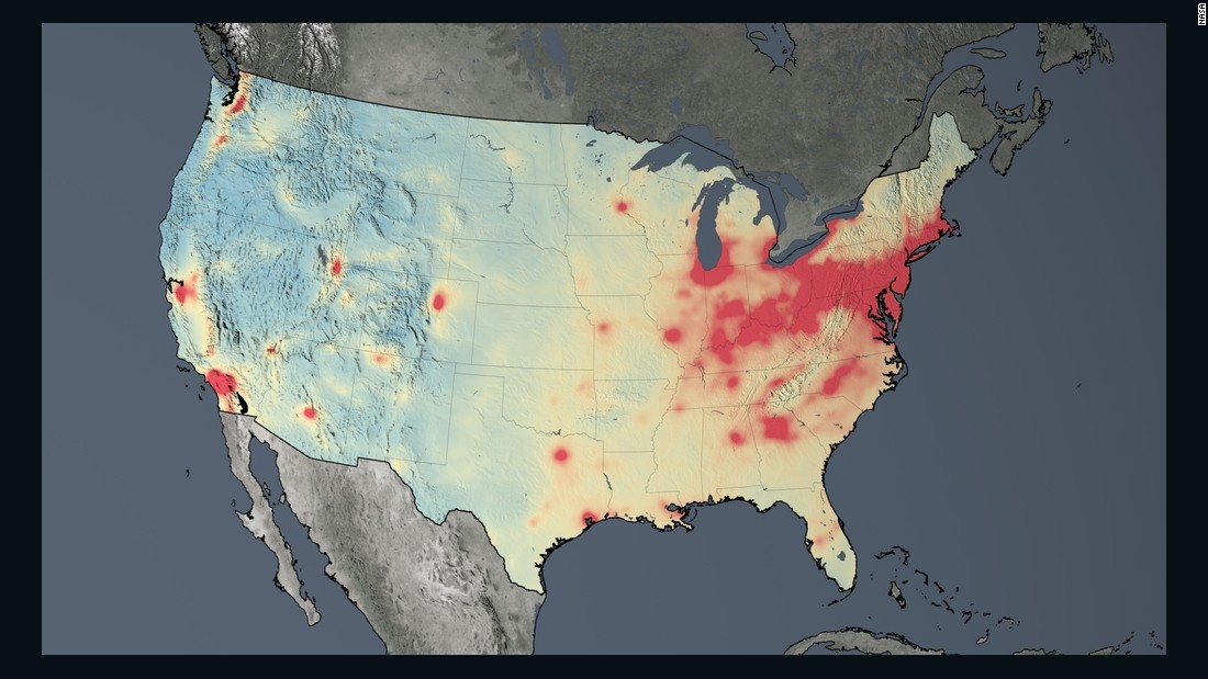 Average nitrogen dioxide concentrations across the U.S. in 2005. The U.S. and Europe are among the largest emitters of nitrogen dioxide. Both regions also showed the most dramatic reductions between 2005 and 2014.