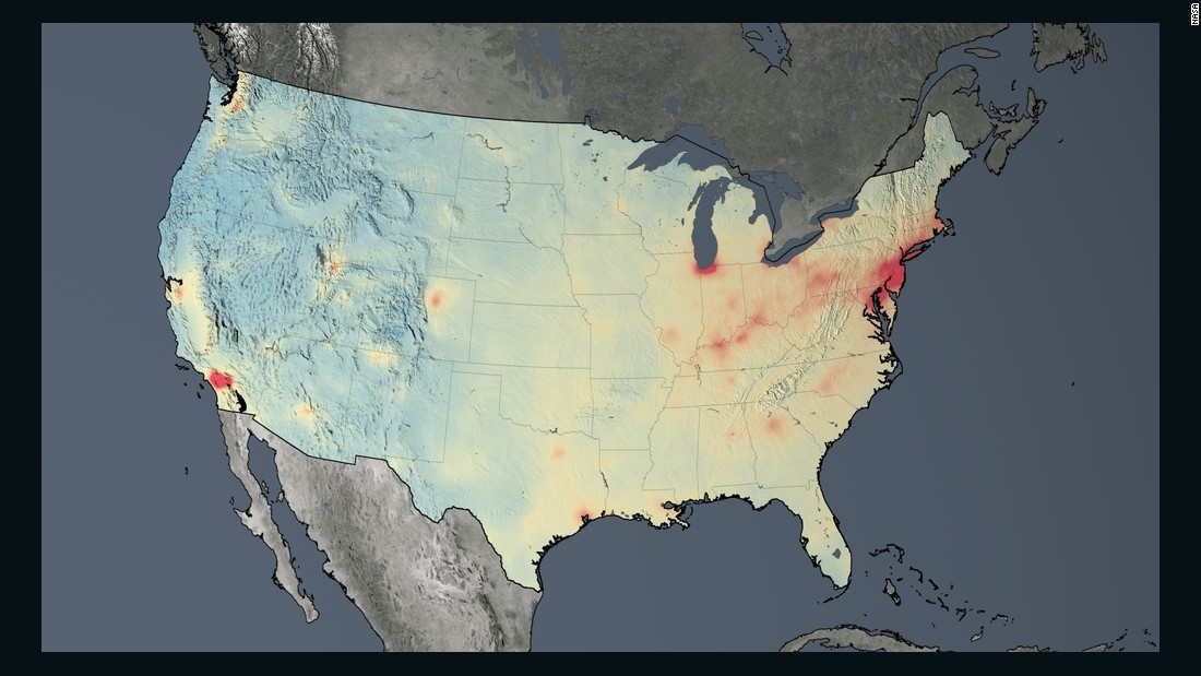 Average nitrogen dioxide concentrations across the U.S. in 2014.