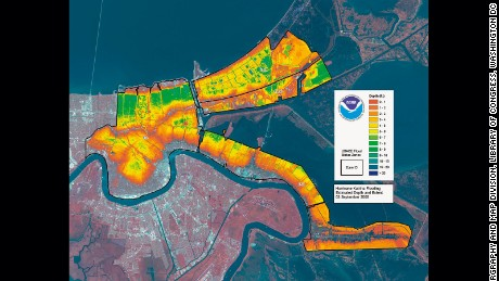 Levels of flooding in New Orleans four days after Hurricane Katrina made landfall on the Gulf Coast.