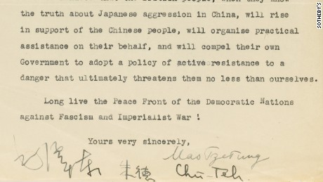 Mao's signature appears at the bottom of the typed letter which was translated from Chinese.