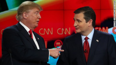 Republican presidential candidates Donald Trump, left, and Sen. Ted Cruz interact at the conclusion of the CNN Republican presidential debate at The Venetian Las Vegas on December 15, 2015.