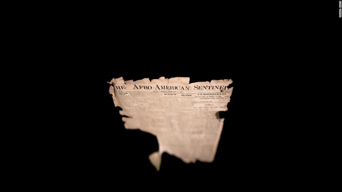 A shred of The Afro-American Sentinel newspaper, from 1899, belongs to the Great Plains Black History Museum in Omaha.