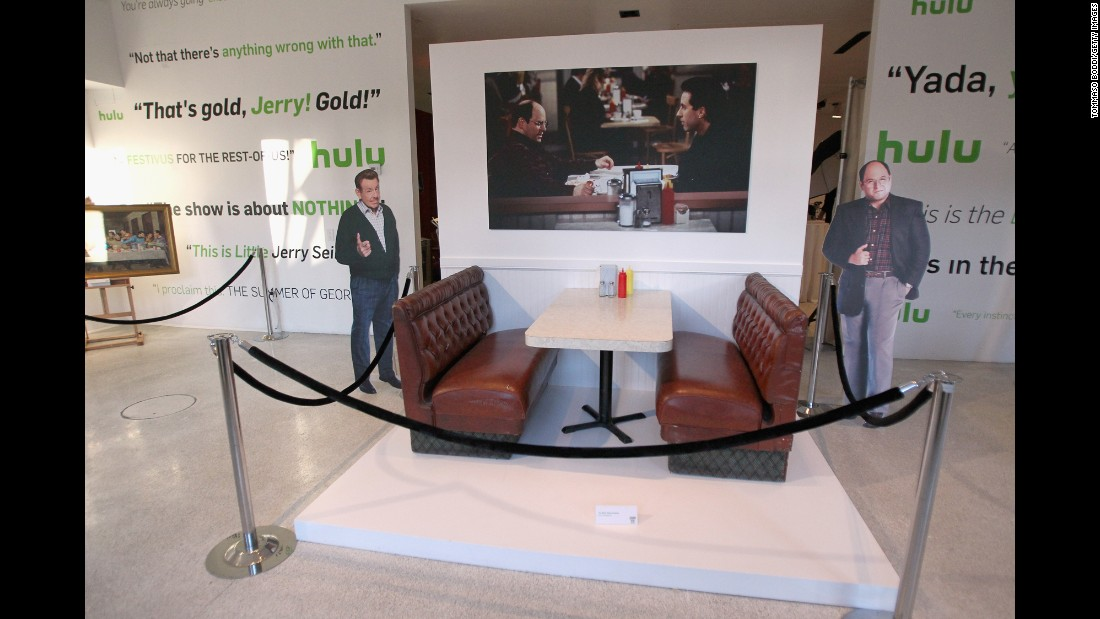 The booth from Monk's Coffee Shop used on the show's Los Angeles set is on display, also courtesy Seinfeld's personal archive.