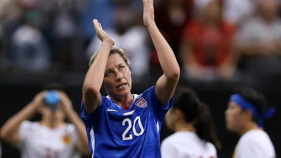 Abby Wambach acknowledges the crowd after making her 255th and final appearance for the U.S. women