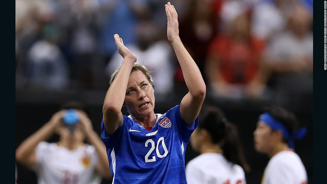 Abby Wambach acknowledges the crowd after making her 255th and final appearance for the U.S. women's national team against China on December 16, 2015.