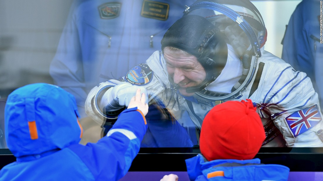 "British astronaut Tim Peake interacts with his children at his sending-off ceremony in Kazakhstan on Tuesday, December 15. Peake <a href=""http://www.cnn.com/2015/12/15/world/tim-peake-british-astronaut/"" target=""_blank"">left the Baikonur cosmodrome </a>and arrived at the International Space Station about six hours later."