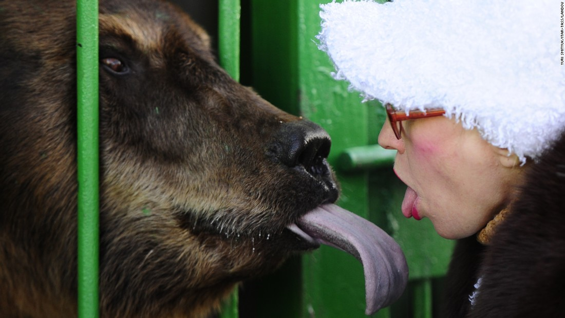Animal tamer Vera Blishch sticks her tongue out at a bear in Ussuriysk, Russia, on Friday, December 11. The bear is one of many animals rescued from a flooded zoo earlier this year.