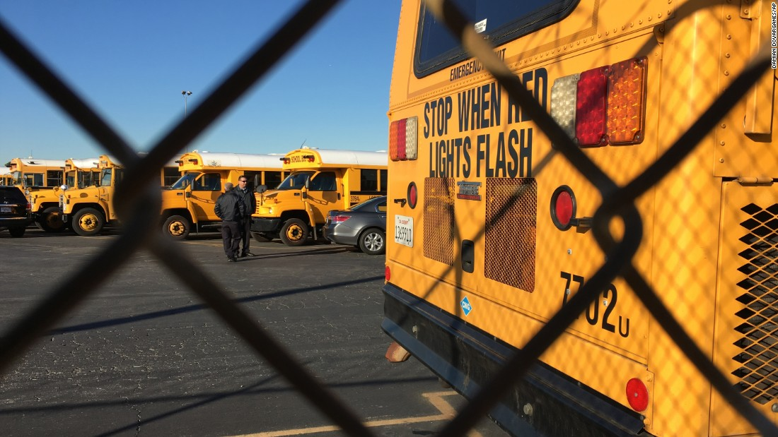 "School buses stand idle in Gardena, California, after <a href=""http://www.cnn.com/2015/12/15/us/la-new-york-school-threats/index.html"" target=""_blank"">a bomb threat shut down the Los Angeles Unified School District</a> on Tuesday, December 15."