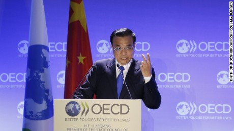 China's Prime Minister Li Keqiang delivers a speech at the OECD (Organisation for Economic Co-operation and Development) in Paris on July 1, 2015.  AFP PHOTO / PATRICK KOVARIK        (Photo credit should read PATRICK KOVARIK/AFP/Getty Images)