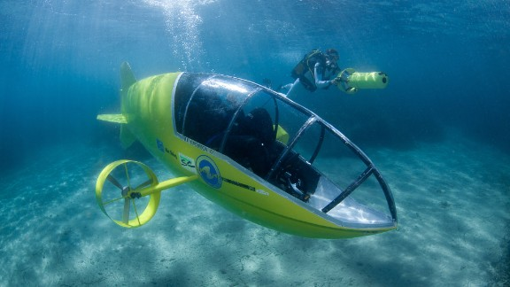 Scubster, which is constructed of advanced carbon-fiber material, comes in models powered by pedals as well as electric motors. It moves about 5 mph and can dive to around 20 feet.